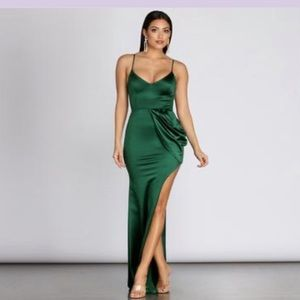 Formal Satin Emerald Dress